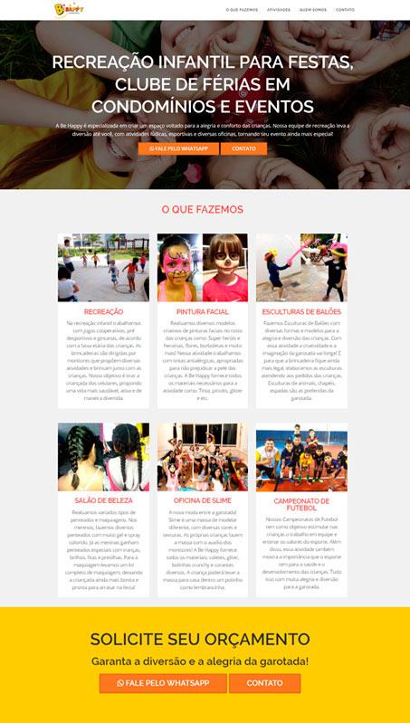 Site desenvolvido para Behappy Recreação Infantil