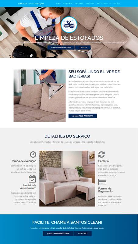Site desenvolvido para lavanderia Santos Clean