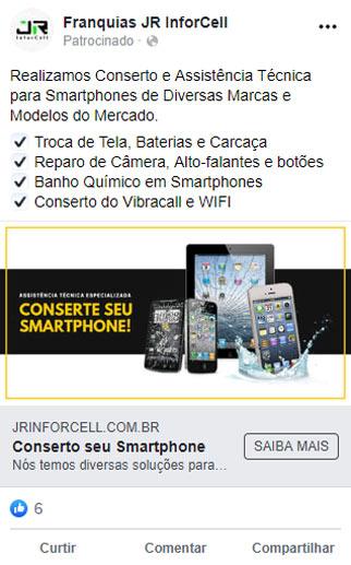 anuncio facebook conserto de smartphone
